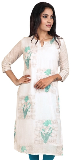 490069 White and Off White  color family Cotton Kurtis, Printed Kurtis in Cotton fabric with Printed work .