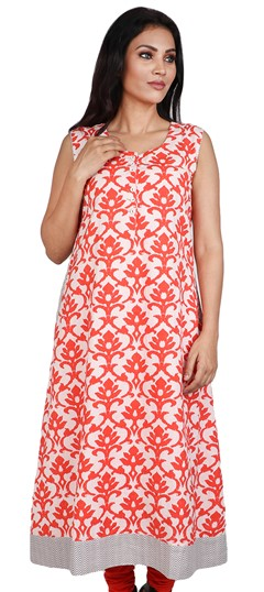 490071 Orange, White and Off White  color family Cotton Kurtis, Printed Kurtis in Cotton fabric with Printed work .