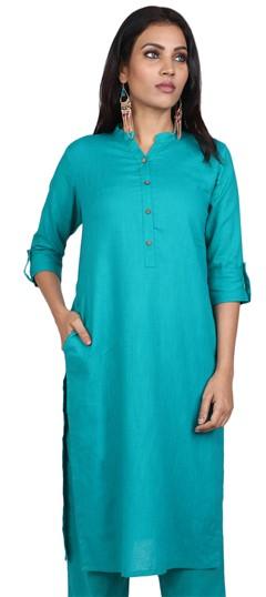 490082 Blue  color family Kurti in Cotton fabric with Thread work .