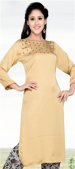 490881 Beige and Brown  color family Kurti in Fancy Fabric fabric with Moti work .