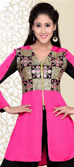 490882 Pink and Majenta  color family Kurti in Art Dupion Silk fabric with Mirror, Sequence, Thread work .