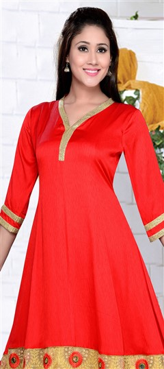 490883 Red and Maroon  color family Anarkali style Kurtis in Art Silk fabric with Border, Machine Embroidery, Sequence, Thread work .