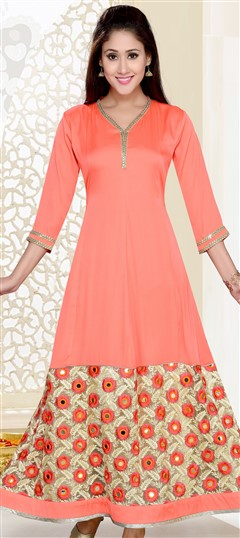 490888 Pink and Majenta  color family Anarkali style Kurtis in Art Silk fabric with Machine Embroidery, Sequence, Thread work .