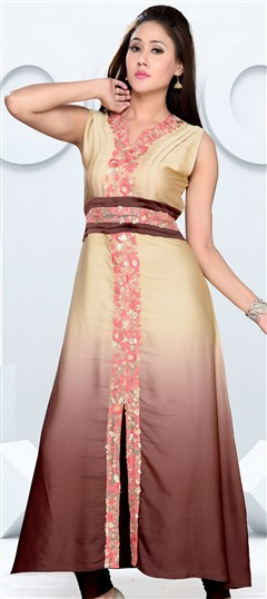 490890 Beige and Brown  color family Kurti in Art Silk fabric with Machine Embroidery, Resham, Sequence, Thread work .