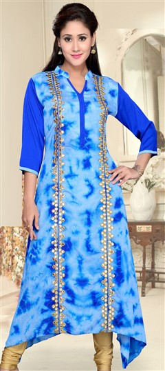 490893 Blue  color family Kurti in Crepe fabric with Mirror, Printed work .