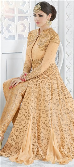 491557: Party Wear Beige and Brown color Salwar Kameez in Georgette fabric with  Embroidered, Stone, Thread work