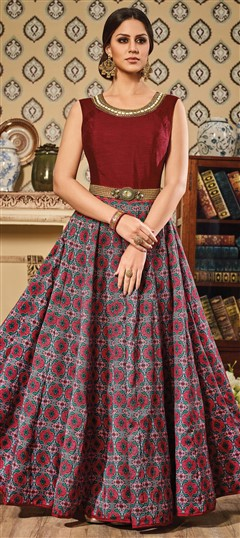 491559 Pink and Majenta,Red and Maroon  color family gown in Silk fabric with Bugle Beads,Printed,Stone,Thread work .