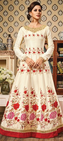 491561 White and Off White  color family gown in Chanderi,Silk fabric with Printed,Stone,Thread,Zari work .