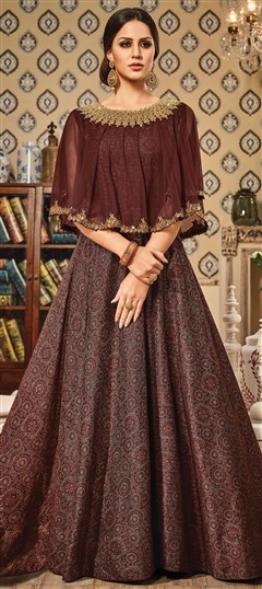 491562 Beige and Brown  color family gown in Chanderi,Silk fabric with Printed,Thread,Zari work .