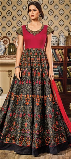 491563 Black and Grey,Pink and Majenta  color family gown in Chanderi,Silk fabric with Bugle Beads,Printed,Stone,Thread work .