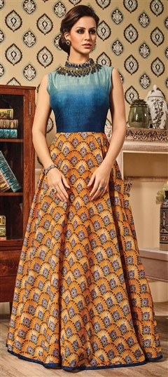 491565 Blue,Orange  color family gown in Silk fabric with Printed,Stone,Thread,Zari work .
