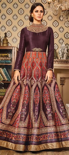 491566 Multicolor  color family gown in Silk fabric with Printed,Stone,Thread,Zari work .