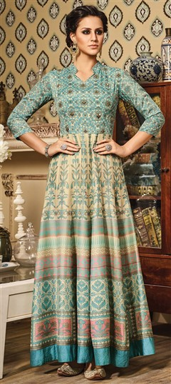491567 Beige and Brown,Blue  color family gown in Chanderi,Silk fabric with Printed,Stone,Thread,Zari work .