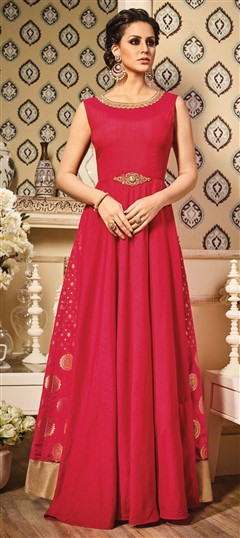 491568 Pink and Majenta  color family gown in Silk fabric with Printed,Stone,Thread,Zari work .