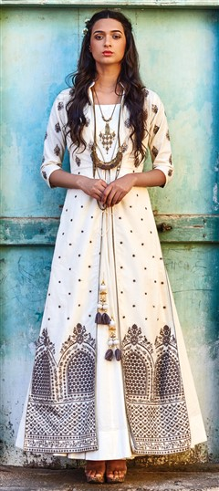 491635 White and Off White  color family Party Wear Salwar Kameez in Art Silk fabric with Kasab, Machine Embroidery, Resham, Stone, Thread work .