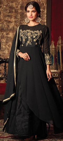 491703 Black and Grey  color family Bollywood Salwar Kameez in Faux Georgette fabric with Machine Embroidery,Thread,Zari work .