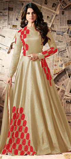 491728 Gold  color family Anarkali Suits in Silk fabric with Machine Embroidery,Resham,Thread work .
