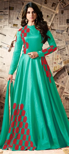 491729 Green  color family Anarkali Suits in Silk fabric with Machine Embroidery,Resham,Thread work .