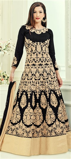 493079 Black and Grey  color family Bollywood Salwar Kameez in Art Silk fabric with Machine Embroidery, Stone, Thread, Zari work .