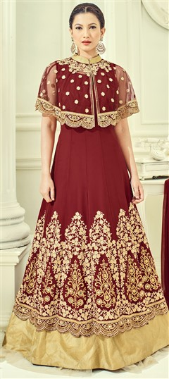 493080 Red and Maroon  color family Bollywood Salwar Kameez in Faux Georgette fabric with Machine Embroidery, Stone, Thread, Zari work .