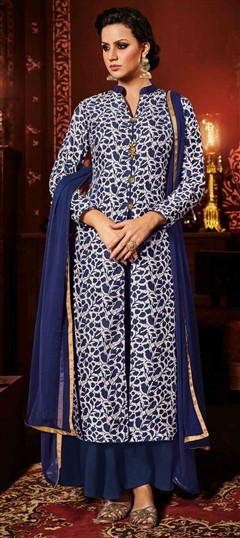 493241 Blue, White and Off White  color family Party Wear Salwar Kameez in Silk fabric with Printed work .