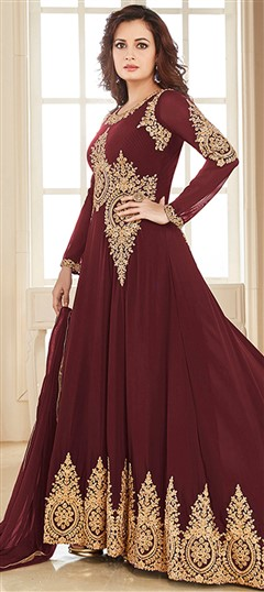 493437 Red and Maroon  color family Bollywood Salwar Kameez in Faux Georgette fabric with Machine Embroidery, Thread, Zari work .