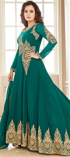 493439 Green  color family Bollywood Salwar Kameez in Faux Georgette fabric with Machine Embroidery, Thread, Zari work .