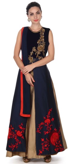 495732 Blue  color family gown in Silk fabric with Machine Embroidery, Sequence work .