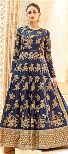 496650 Blue  color family Anarkali Suits in Silk fabric with Border, Machine Embroidery, Thread, Zari work .