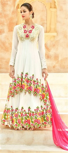 496651 White and Off White  color family Anarkali Suits in Net fabric with Machine Embroidery, Resham, Stone, Thread, Zari work .
