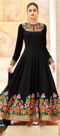 496652 Black and Grey  color family Anarkali Suits in Georgette fabric with Machine Embroidery, Resham, Stone, Thread work .