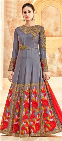 496655 Black and Grey  color family Anarkali Suits in Silk fabric with Machine Embroidery,Resham,Sequence,Stone,Thread,Zari work .