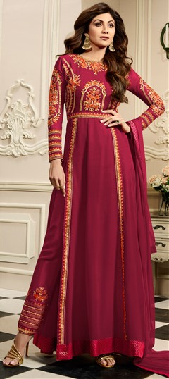 498470 Pink and Majenta  color family Bollywood Salwar Kameez in Georgette fabric with Machine Embroidery, Resham, Stone, Thread, Zari work .