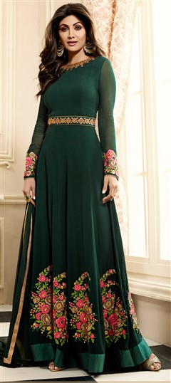 498472 Green  color family Bollywood Salwar Kameez in Georgette fabric with Machine Embroidery, Resham, Stone, Thread work .