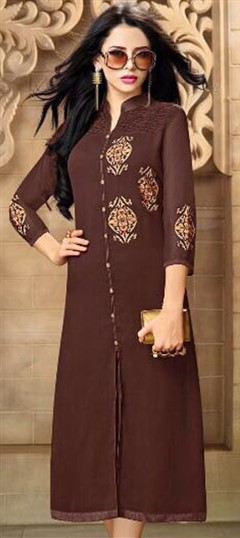 498966 Beige and Brown  color family Kurti in Georgette fabric with Machine Embroidery, Resham, Thread work .