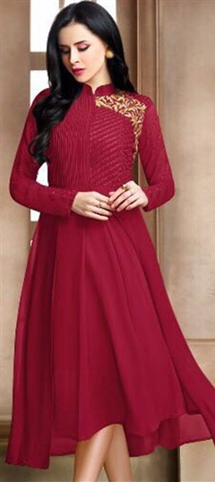 498968 Red and Maroon  color family Kurti in Georgette fabric with Machine Embroidery, Resham, Thread work .