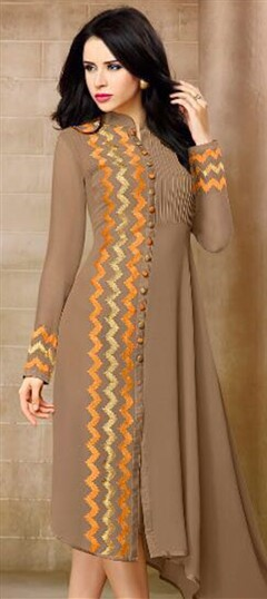 498971 Beige and Brown  color family Kurti in Georgette fabric with Machine Embroidery, Resham, Thread work .