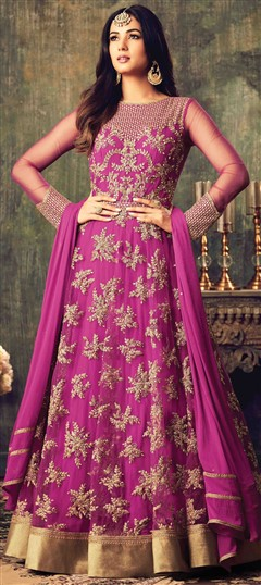 499425 Pink and Majenta  color family Anarkali Suits in Net fabric with Lace,Machine Embroidery,Stone,Thread work .