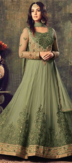 499426 Green  color family Anarkali Suits in Net fabric with Lace,Machine Embroidery,Stone,Thread work .
