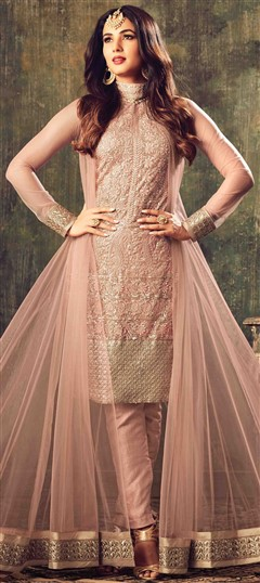 499427 Pink and Majenta  color family Party Wear Salwar Kameez in Net fabric with Machine Embroidery,Sequence,Thread work .