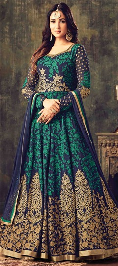 499428 Blue  color family Anarkali Suits in Georgette fabric with Lace,Machine Embroidery,Stone,Thread work .