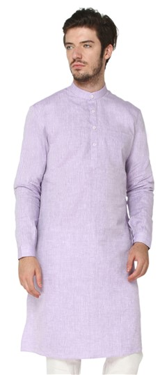 507143 Purple and Violet  color family Modi Kurta in Linen fabric with Thread work .