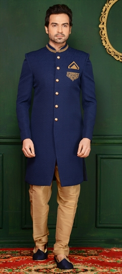 508973 Blue  color family Sherwani in Imported, Jacquard fabric with Machine Embroidery, Thread work .