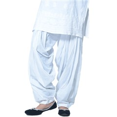 600172 White and Off White  color family Patiala in Cotton fabric with Thread work .