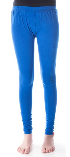 600292 Blue  color family leggings in Cotton, Lycra fabric with Thread work .
