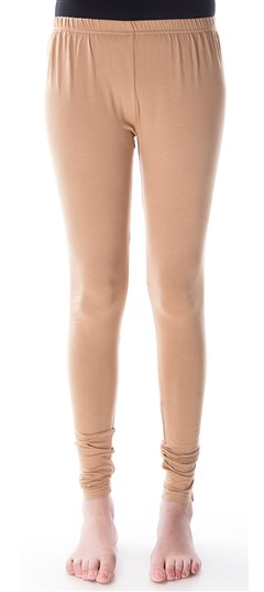 600294 Beige and Brown  color family leggings in Cotton, Lycra fabric with Thread work .