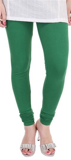 600298 Green  color family leggings in Lycra fabric with Thread work .