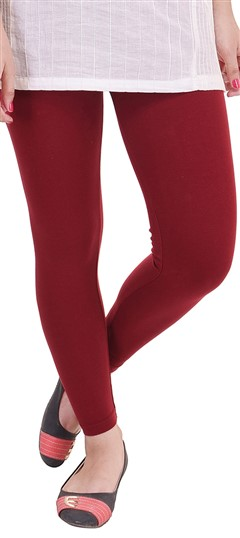 600299 Red and Maroon  color family leggings in Lycra fabric with Thread work .
