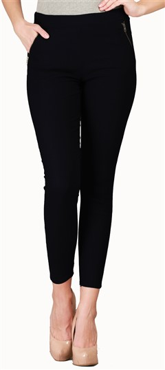 600532 Black and Grey  color family Jeggings in Cotton, Lycra fabric with Thread work .