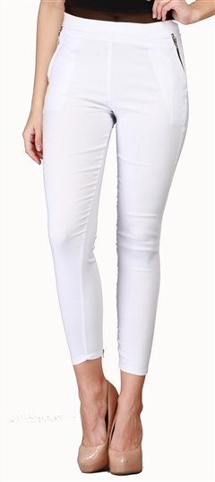 600533 White and Off White  color family Jeggings in Cotton, Lycra fabric with Thread work .